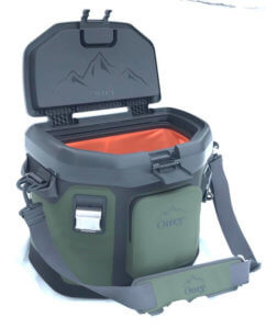 This image shows the OtterBox Trooper 20 soft cooler with the lid open with the shoulder straps.