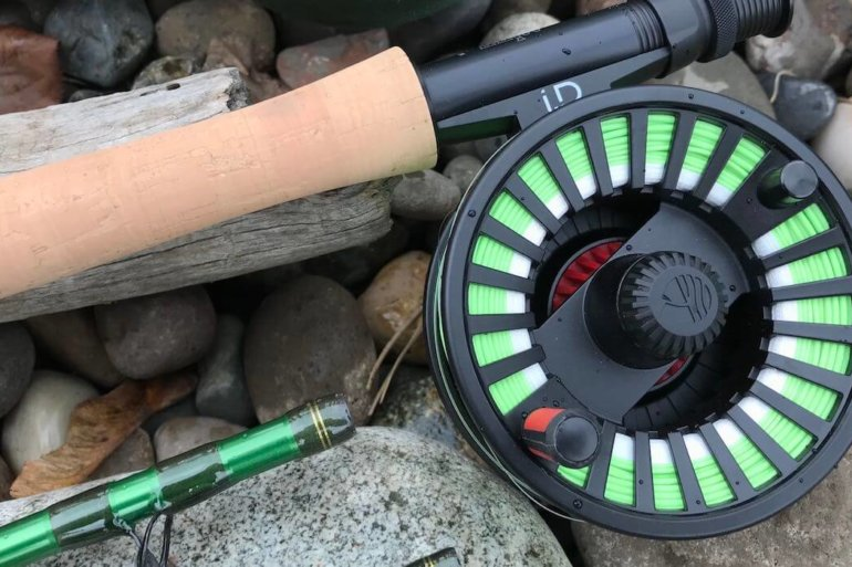 This photo shows a close up of the Redington VICE Combo, including the VICE fly fishing rod and i.D reel.