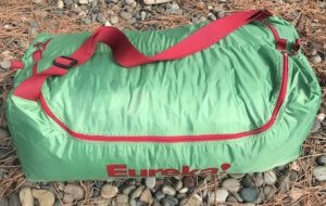 This camping tent review photo shows the duffel bag for the Eureka! Boondocker Hotel 6 Tent.