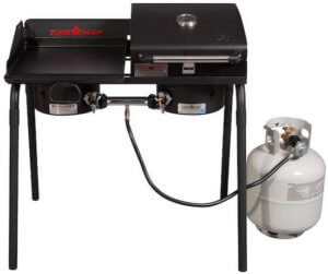 This best camping stove and grill photo shows the Camp Chef Tailgater Combo.
