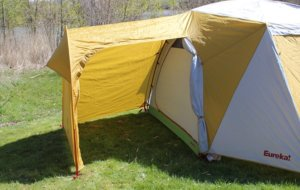 This camping tent photo shows the gear garage on the Eureka! Boondocker Hotel 6 Tent.