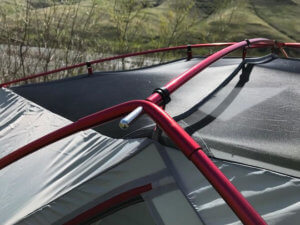 This photo shows the roof pole system connected on the Eureka! Boondocker Hotel 6 Tent.