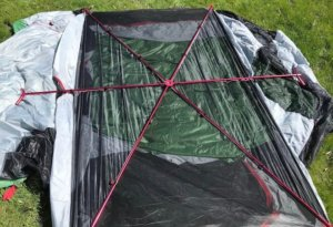 This photo shows the Eureka! Boondocker Hotel 6 Tent top poles.