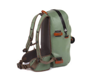 This photo shows the yucca color option of the Fishpond Thunderhead Submersible Backpack.