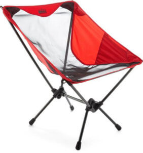 This photo shows the REI Co-op Flexlite Macro Camp Chair in Goji Red.