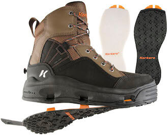 This wading boot photo shows the Korkers Buckskin wading boots with interchangeable soles.