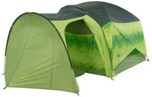 This photo shows the Big Agnes Big House 4 Deluxe tent with the Big Agnes Accessory Vestibule.