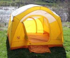 This photo shows the inside of the Big Agnes Big House 4 Deluxe tent.