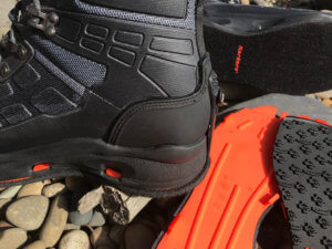This Korkers WRAPTR review photo show the heel and soles of the WRAPTR wading boots.