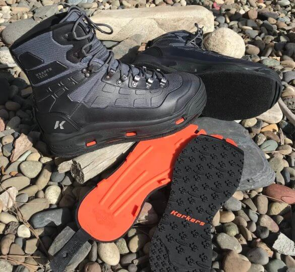 This Korkers WRAPTR review photo shows the Korkers WRAPTR Wading Boots with the OmniTrax Interchangeable Sole System.