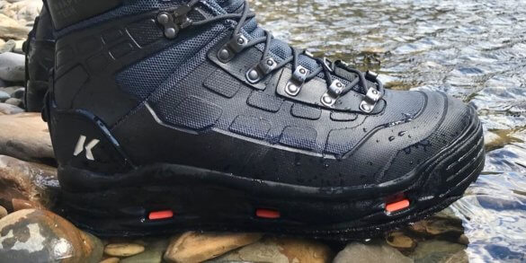 This Korkers WRAPTR review photo shows the Korkers WRAPTR Wading Boots and its eyelets and laces.