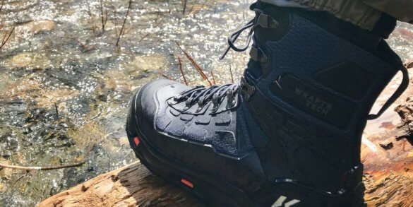 This Korkers WRAPTR review photo shows the Korkers WRAPTR Wading Boots ready to go into the water.