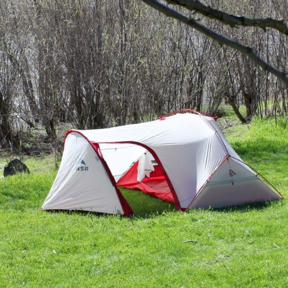 This photo shows the MSR Hubba Tour 2 Tent setup outside.