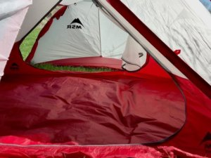 This photo shows the inside of the MSR Hubba Tour 2 Tent.