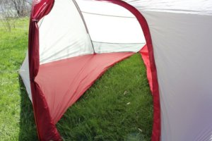 This photo shows the vestibule of the MSR Hubba Tour 2 tent.