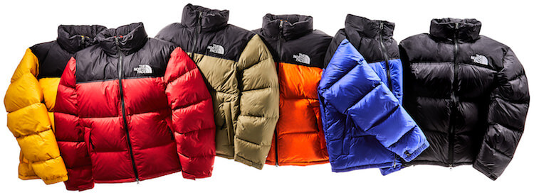 This down jackets photo shows several The North Face 1996 Nuptse Down Jackets.