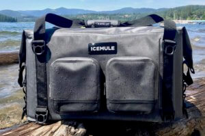 This photo shows the ICEMULE Traveler soft cooler outside near a lake.