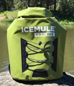 This photo shows the ICEMULE Pro Large (23L) size cooler on a rock near a lake.