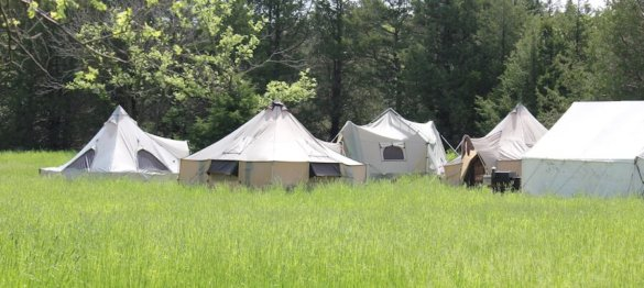 This photo shows Cabela's outfitter tents set up at Turkey Camp in Nebraska.