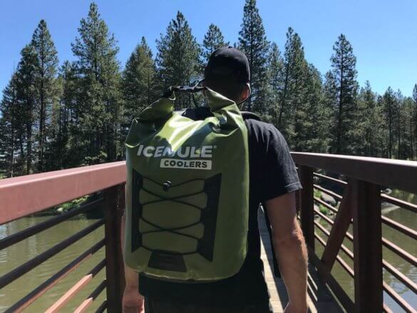 This photo shows the author wearing the ICEMULE Pro cooler during the review process.