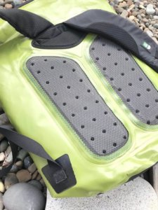 This photo shows the backpack pads on the ICEMULE Pro cooler.