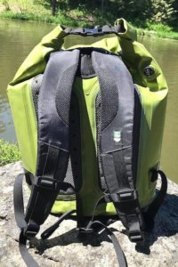 This photo shows the backpack straps on the ICEMULE Pro Large 23L cooler.