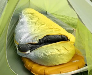 This photo shows the Therm-a-Rest NeoAir XLite air mattress inside a tent with the Thern-a-Rest Parsec sleeping bag.
