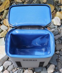 This photo shows the top and inside of the YETI Hopper Backflip 24 backpack cooler.