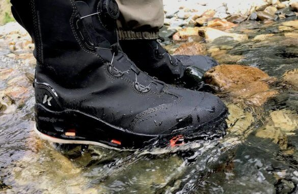 This photo shows a closeup of the Korkers Devil's Canyon wading boot.