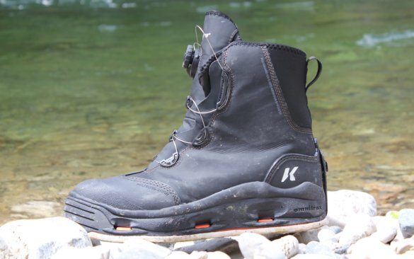 This photo shows the Korkers Devil's Canyon wading boot near a river.