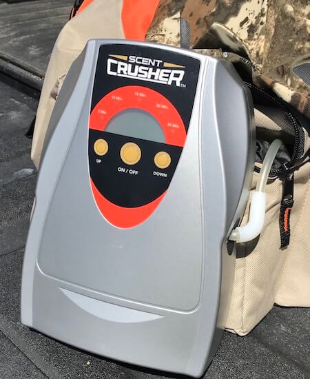 This photo shows the ozone producing module on the Scent Crusher Ozone Gear Bag.