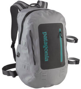 This photo shows the Patagonia Stormfront Waterproof Pack 30L Fishing Backpack.