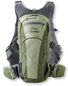 This best fishing backpacks photo shows the L.L.Bean Rapid River Vest Pack for fly fishing.