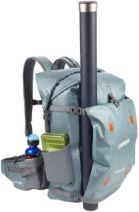 This photo shows the Umpqua Tongass 1800 waterproof backpack with some fishing tackle.