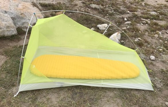 This photo shows the Big Agnes Fly Creek HV2 Platinum Tent set up without the rain fly attached.