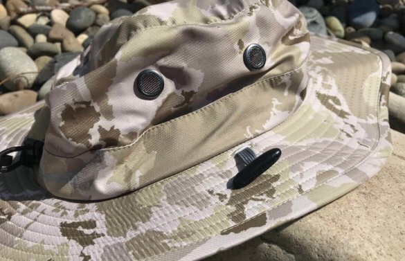 This photo shows the Shelta Seahawk hat mesh vents and removable cord toggle system.