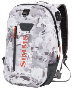 This best fishing backpack photo shows the Simms Dry Creek Z Pack.