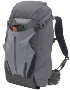 This best fishing backpack photo shows the Simms G4 Pro Shift Fishing Backpack.