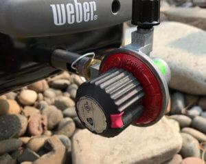 This photo shows the regulator on the Weber Go-Anywhere Gas Grill.