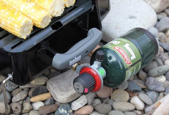 This photo shows a propane canister attached to the Weber Go-Anywhere Gas Grill.