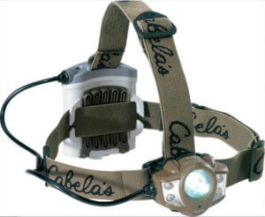This hunting headlamp photo shows the Cabela's Alaskan Guide XP Green Headlamp by Princeton Tec.