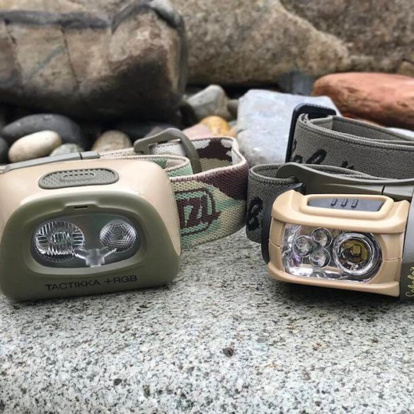 This photo shows two headlamps for hunting.
