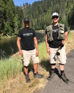 This photo shows two fly fishermen who are wearing the Redington Prowler Felt and Redington Prowler Sticky Rubber Wading Boots.