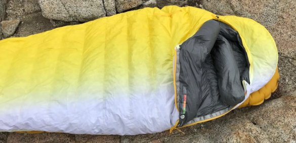This photo shows the Therm-a-Rest Parsec 20 Sleeping Bag partially unzipped.