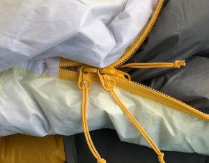 This photo shows the zipper on the Therm-a-Rest Parsec 20 sleeping bag.