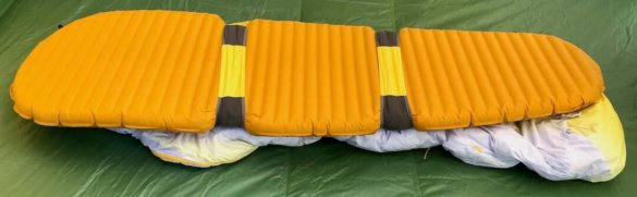 This Therm-a-Rest Parsec review photo shows the Therm-a-Rest SynergyLink Connectors with the Parsec sleeping bag an a sleeping pad.