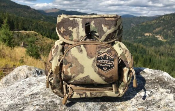 This image shows the Alaska Guide Creations Classic MAX Pack Bino Harness outside.