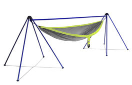 The best camping gift photo shows the ENO Nomad Hammock Stand with a hammock.