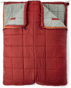 The best camping gift photo shows the REI Co-op Siesta 30 Double Sleeping Bag.