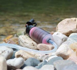 This camping gear gift idea shows the MSR TrailShot water filter.